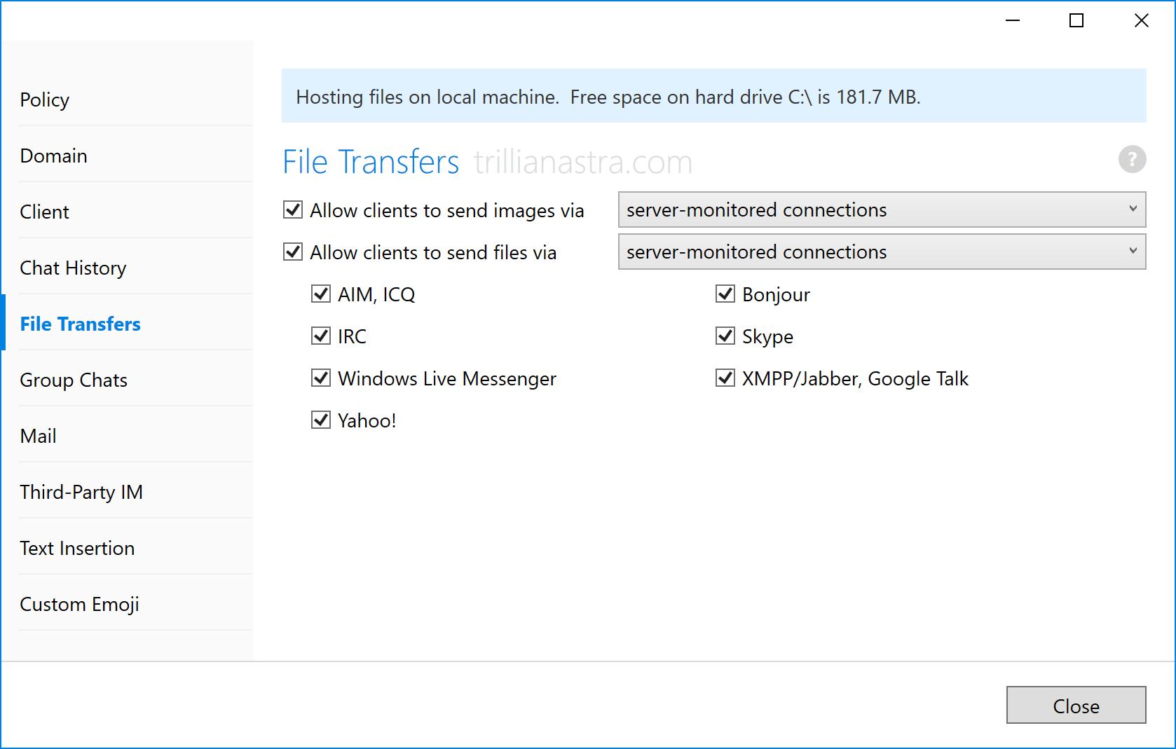File transfer settings | Trillian