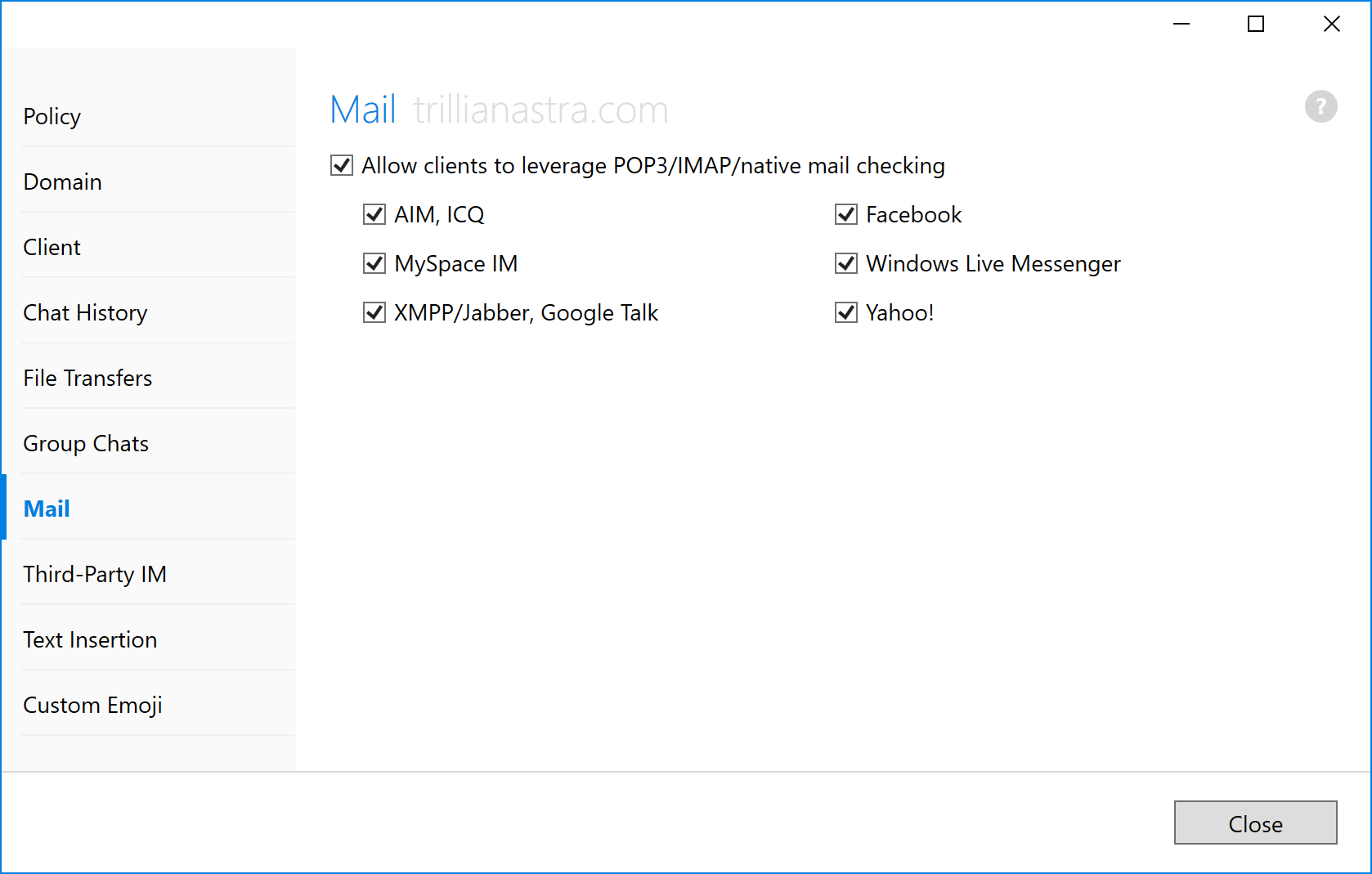 Third party mail integrations | Trillian