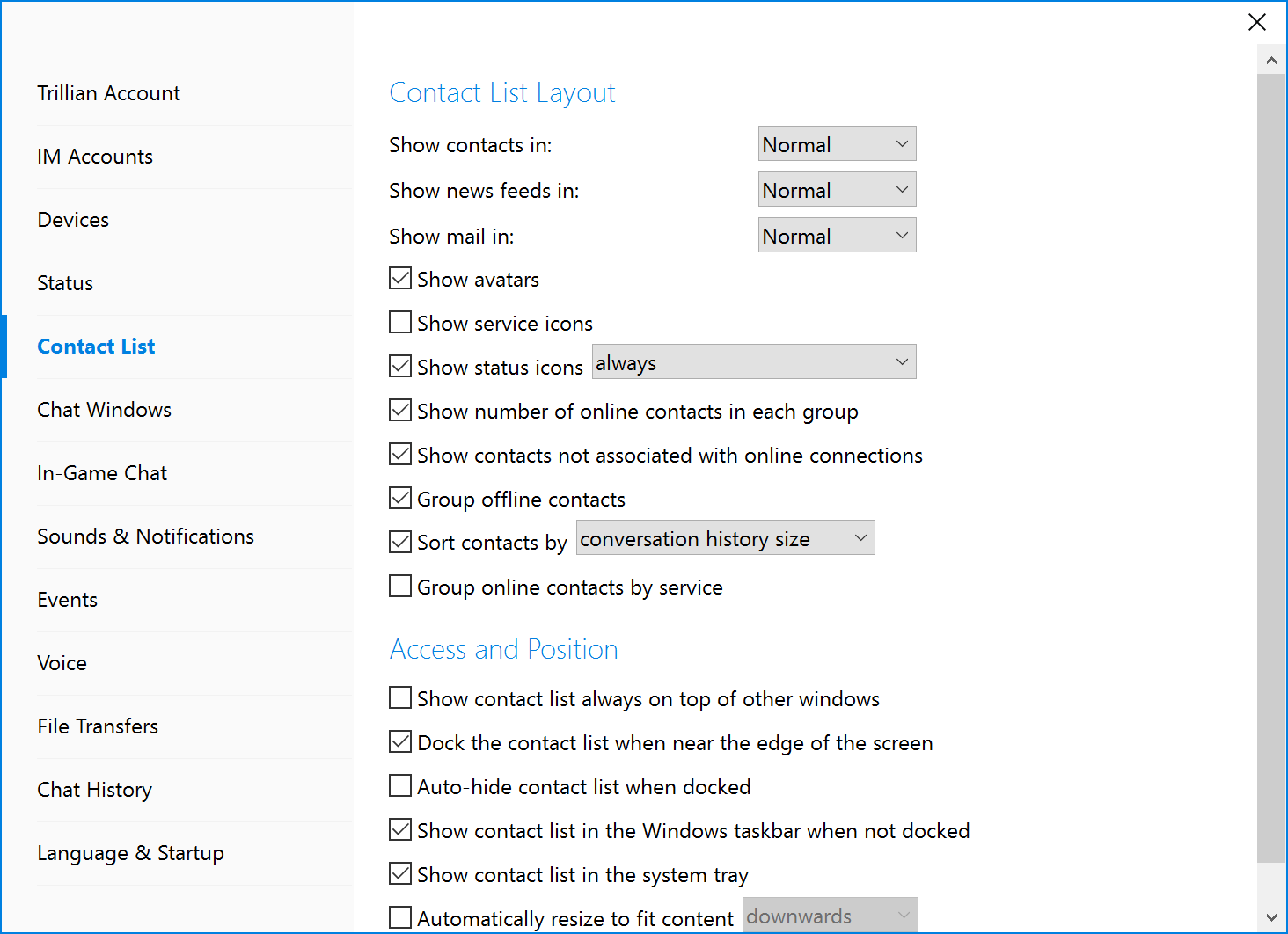 Contact List | Changing Contact List Layout Trillian