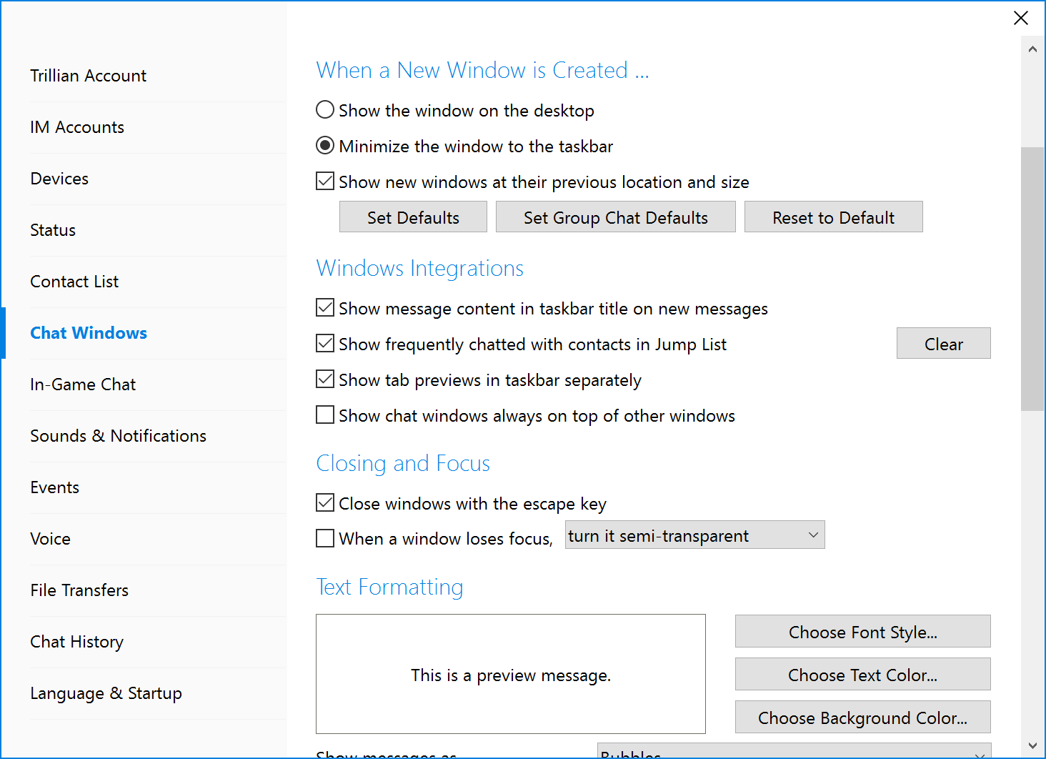 Changing how new chat windows appear | Trillian