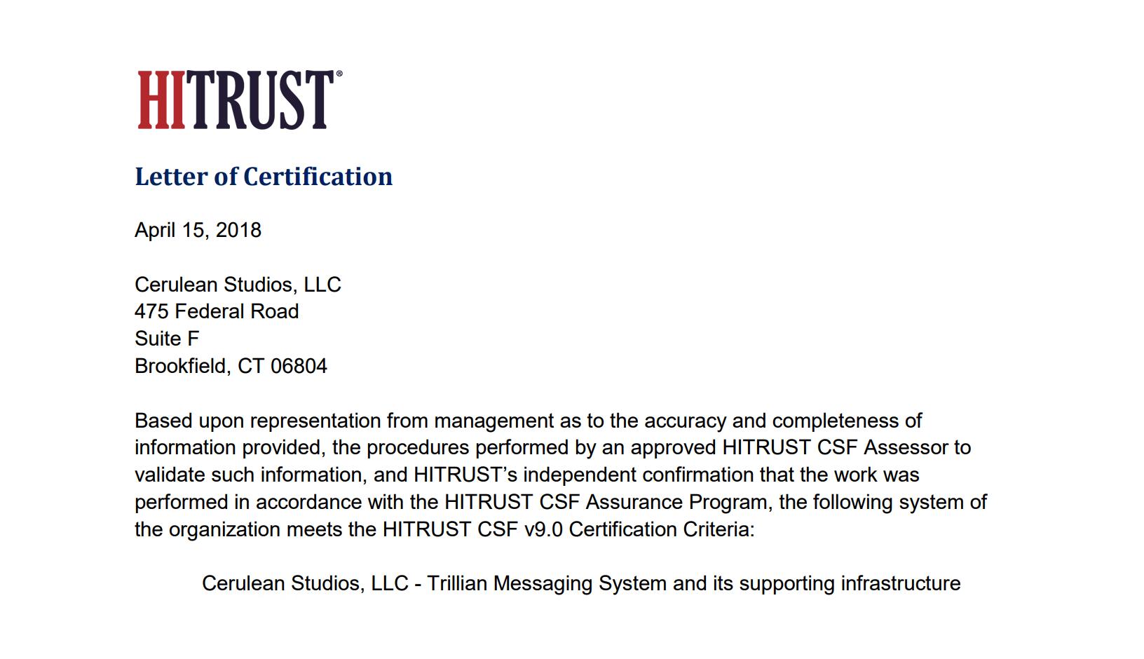 Hitrust Csf Certification Trillian